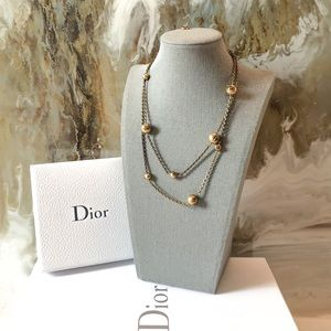 Dior J'Adore Bronze Bead Long Chain Necklace